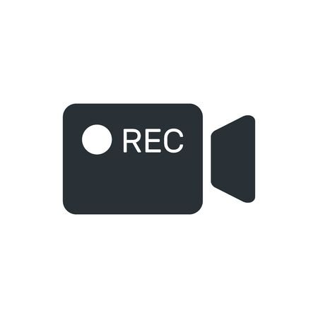 flat vector image on white background, camcorder icon with recording inscription