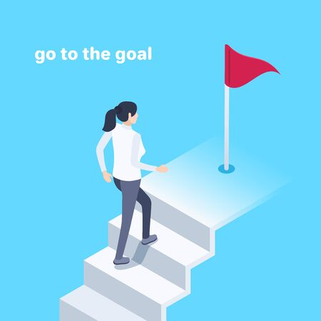 isometric vector image on a blue background, a young woman climbs the stairs to the red flag, go to the goal or business success