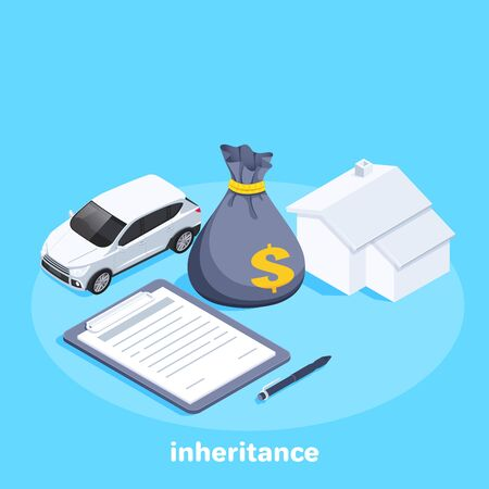 isometric vector image on a blue background, a car next to a bag of money and a house, pen and paper document, legal will and inheritance 向量圖像