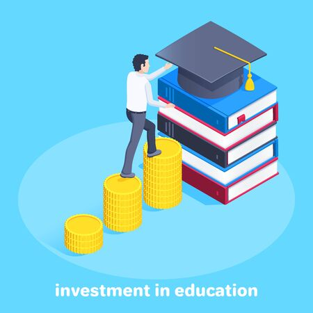isometric vector image on a blue background, a young man climbs the stairs from coins to the bachelors hat lying on a stack of books, investment in higher education