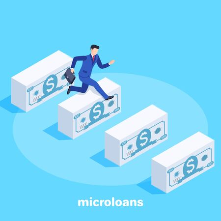 isometric vector image on a blue background, a man in a business suit with a briefcase runs and jumps over piles of banknotes, microloans and credit