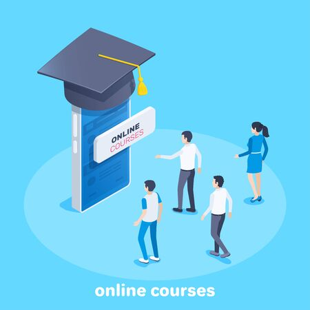 isometric vector image on a blue background, young people come to the smartphone on which the bachelors hat is wearing, a button with the inscription online courses Ilustração