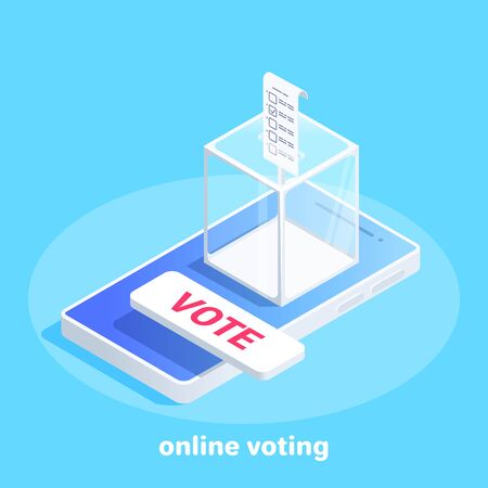 isometric vector image on a blue background, glass box for voting with a bill on a smartphone screen, online voting