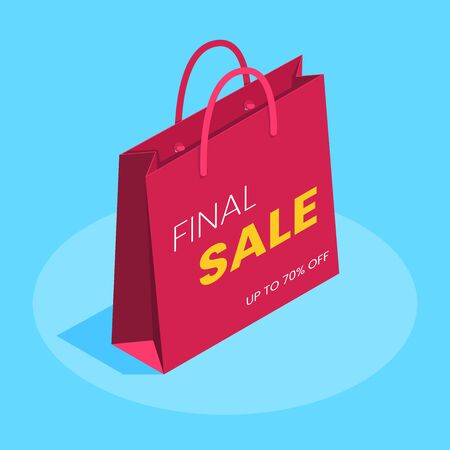 isometric vector image on a blue background, red paper bag with the inscription final sale, shopping on stock