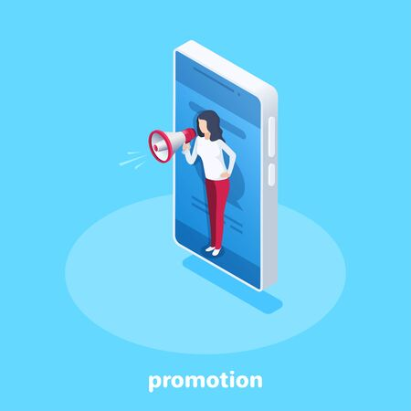 isometric vector image on a blue background, a woman with a loudspeaker on a smartphone screen, marketing and promotion