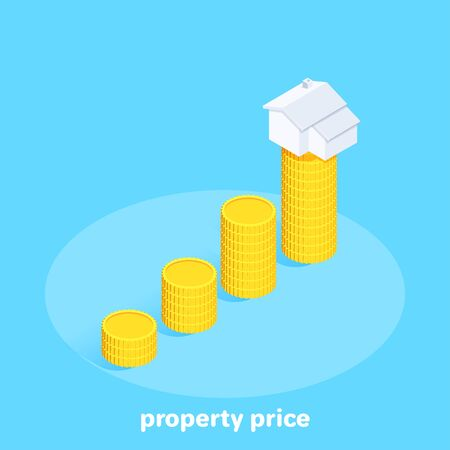 isometric vector image on a blue background, a chart of gold coins and a house icon on the highest column, rising real estate price