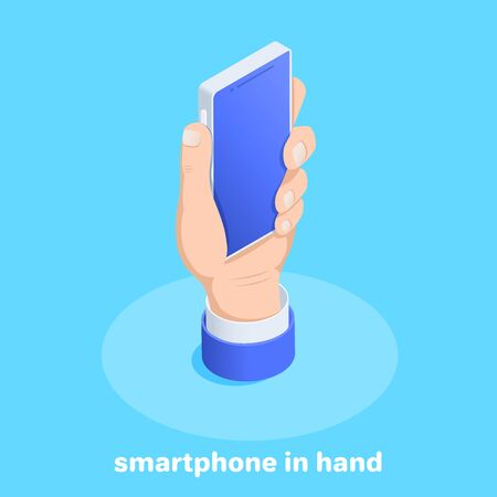 isometric vector image on a blue background, the hand of a man holds a smartphone