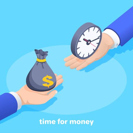 isometric vector image on a blue background, male hands holding a bag of money and a watch, time for money Ilustração