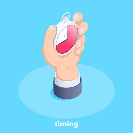 isometric vector image on a blue background, male hand holds a stopwatch, business timing Ilustração