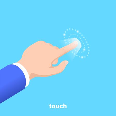 hand with an extended finger pressing on the touch surface, isometric vector image on a blue background