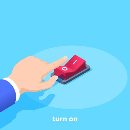 isometric vector image on a blue background, male hand presses the red button switch, turn on Ilustração