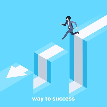 isometric vector image on a blue background, a woman in a business suit jumps over failure, movement to success