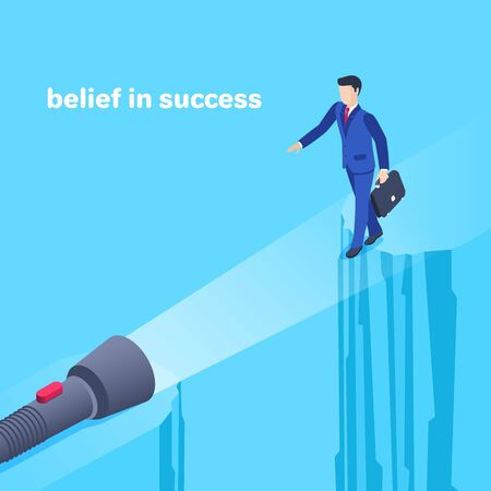 isometric vector image on a blue background, a man in a business suit carefully go over a precipice and a shining flashlight, a bridge over a cliff, belief in success