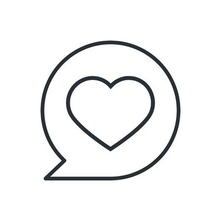 flat linear vector image on a white background, bubble icon with a heart inside, like in social networks Ilustração