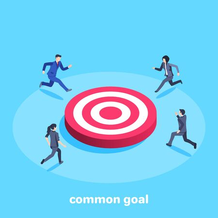 isometric vector image on a blue background, men and women in business suits run to a big red target, competition in business