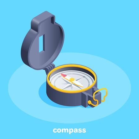 isometric vector image on a blue background, compass icon with raised cap Ilustração