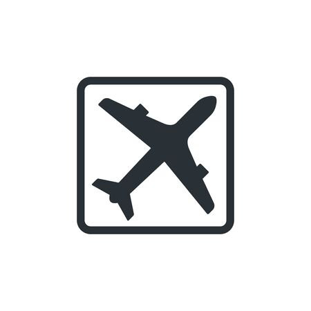 flat vector image on white background, icon of a flying plane in a square frame, silhouette of a plane in black, departures arrivals Ilustração