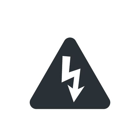 flat vector image on white background, triangle icon with lightning in black, high voltage Ilustração