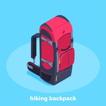 isometric vector image on a blue background, red with a black travel backpack, travel fees and equipment purchase