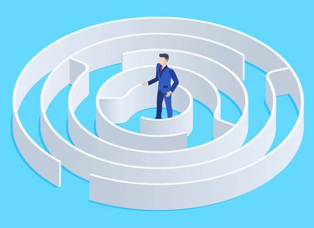 isometric vector image on a blue background, a man in a business suit stands in the middle of a round maze