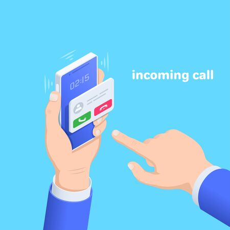 isometric vector image on a blue background, a male hand holds a smartphone to answer an incoming call