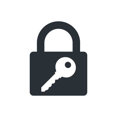 flat vector image on white background, lock and key icon