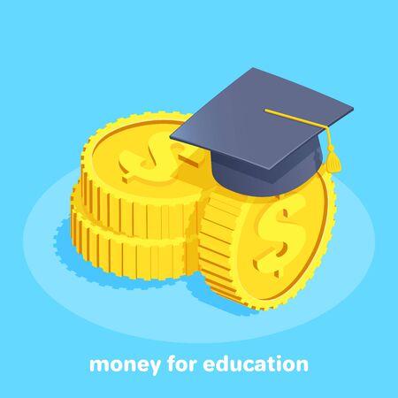immagine vettoriale isometrica su sfondo blu, monete d'oro con il simbolo del dollaro e un berretto da scapolo, prestito studentesco o pagamento per l'istruzione