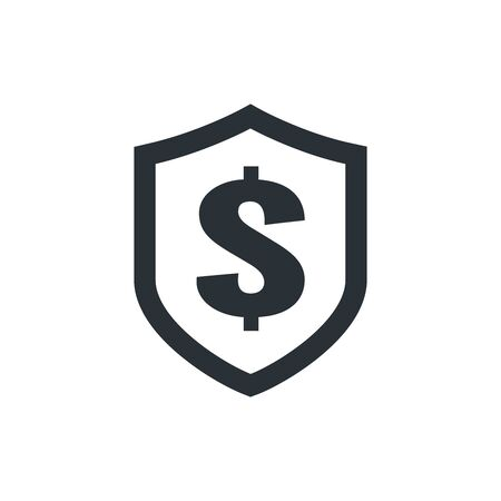 flat vector image on white background, shield icon with a dollar sign, money safety Ilustração