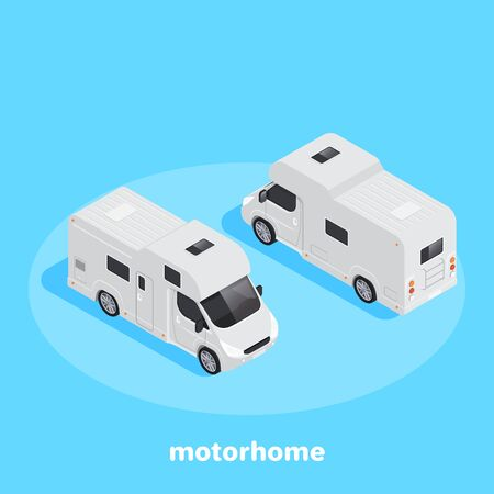 isometric vector image on a blue background, white motorhome front and back view Ilustração