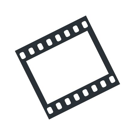 flat vector image on a white background, black video or film frame icon