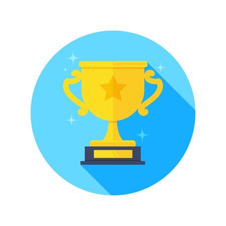 flaches Vektorbild auf weißem Hintergrund, goldenes Cup-Symbol in einem blauen Kreis mit Stern und Highlights