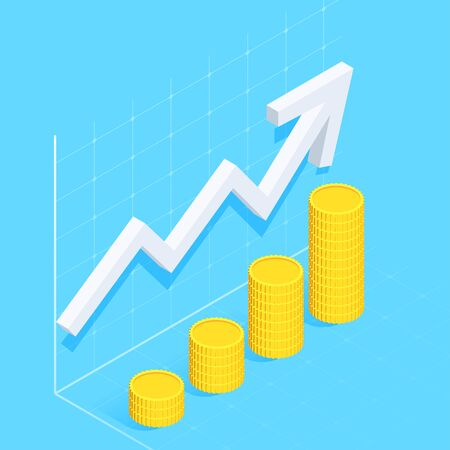 isometric vector image on a blue background, white curved arrow tends to the top and columns with coins, financial success and return on investment Ilustração