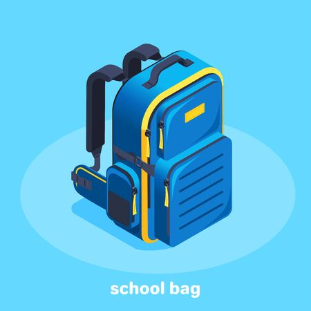 isometric vector image on a blue background, blue with a yellow student backpack, travel fees and purchase of equipment, going to school