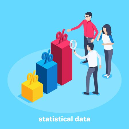 isometric vector image on a blue background, a man and a woman are standing near the column of the chart, studying statistical data