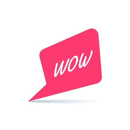 flat vector image on white background, red bubble icon with the word wow
