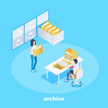izometryczny obraz wektorowy na niebieskim tle, mężczyzna siedzi przy stole z teczkami i dziewczyna z dokumentami z półek archiwalnych