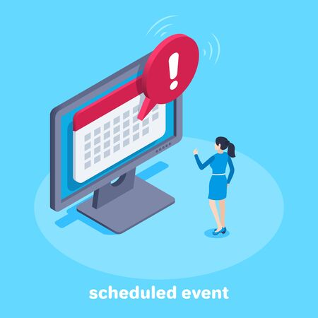 isometric vector image on a blue background, a girl in a blue dress stands near a computer on the screen of which the calendar application window is open, an important task in the routine