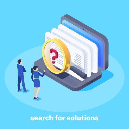 isometric vector image on a blue background, a man and a woman in business clothes are standing near the laptop and looking through a magnifying glass at documents, search and analysis Иллюстрация