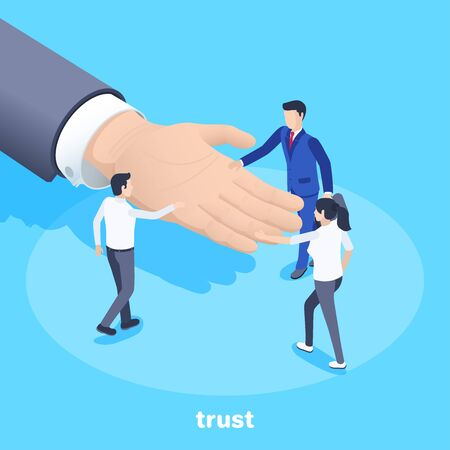 isometric vector image on a blue background, men and women lay their palms on the male palm given to them, trust in business and teamwork Illustration