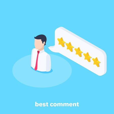 isometric vector image on a blue background, a man icon with a red tie and a text bubble with stars, best comment Stock Illustratie