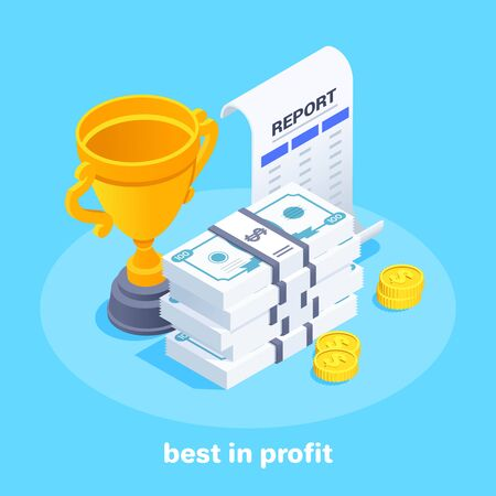 isometric vector image on a blue background, a cup next to bundles of money and a report on a sheet of paper, best in profit 版權商用圖片 - 135469880