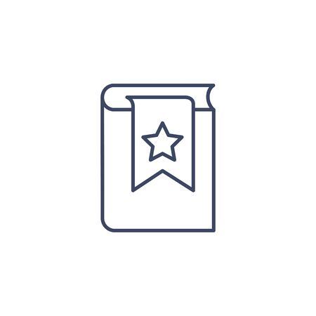 flat vector image on white background, book icon with bookmark and star in linear style, bestseller or hit
