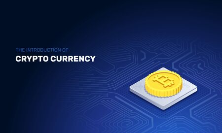 isometric vector image on a dark blue background, bitcoin gold coin lies on the processor of the board, cryptocurrency as digital technology Иллюстрация