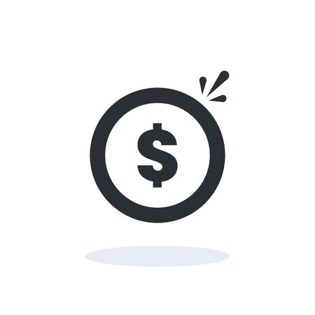 flat vector image on a white background, a coin icon with a dollar sign and a shadow under it, money and finance on the Internet 向量圖像