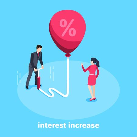 isometric vector image on a blue background, a man in a business suit using a pump inflates a big red balloon with a percent icon and a woman standing next to him in a red dress, interest increase