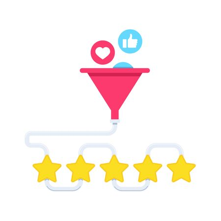 flat vector image on a white background, incoming likes in a watering can and the formation of the highest rating of five stars