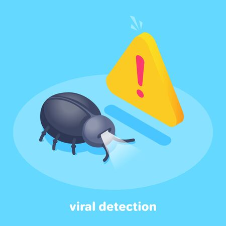 isometric vector image on a blue background, a bug and a message about danger, a virus on the phone Stock Vector - 135470124