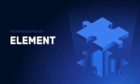 isometric vector image on a deep blue background, puzzle piece flying out of a hole, business element Illusztráció