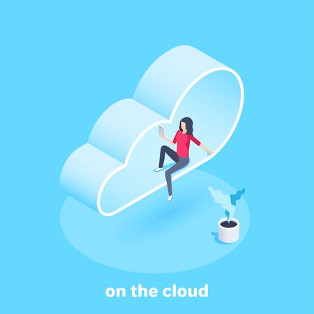 isometric vector image on a blue background, a girl with a smartphone sits on a cloud, cloud service
