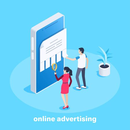 isometric vector image on a blue background, a man and a woman read an ad on a smartphone screen, online advertising service